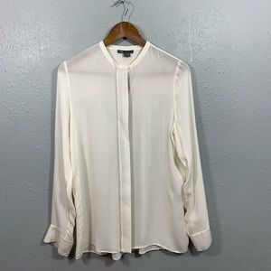 Vince Ivory 100% Silk Long Sleeve Blouse Size 8